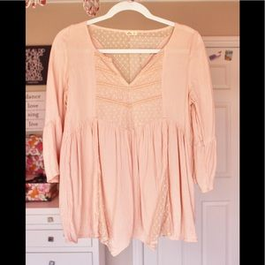 Hollister Pink Peasant Top XS